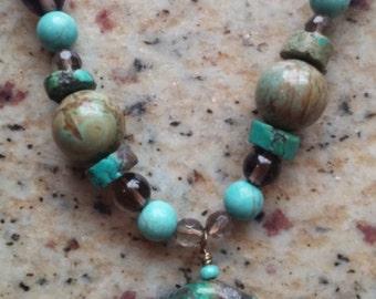 Turquoise and Smoky Quartz Necklace