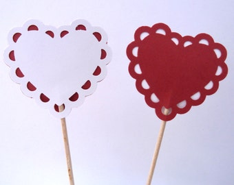 24 Red White Heart Valentine's Day Toothpick Cupcake Toppers, Food Picks, Theme Party Picks