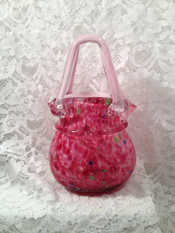 Beautiful Hand Blown Art Glass Handbag Purse Vase Murano
