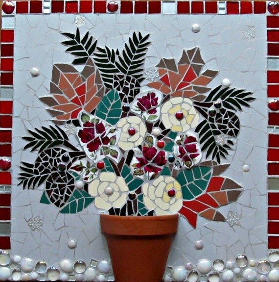 Art Piece Wedding Gift : unique piece of mosaic art; floral design; can be personalised wedding ...