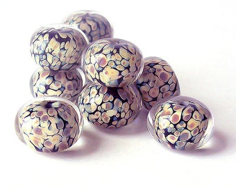Snakeskin. Handmade Raku Lampwork Glass Beads  (5 pcs) 14-15 mm x 9-10  mm.