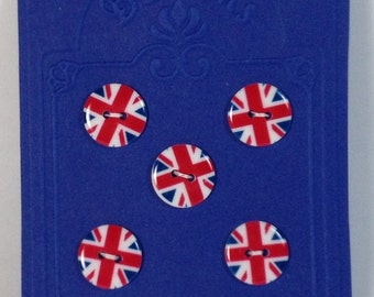 5 Buttons english flag 18 mm. 2 holes.