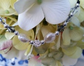 Rose charm & beads with coin pearl and Swarovski Crystal necklace- beautiful Sterling silver Square Filigree Clasp