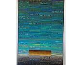"RESERVED Wall hanging. Modern quilt. Abstract textile art. Art quilt. Landscape quilt. Teal fiber art. One fine day. 32x48 "". OOAK."