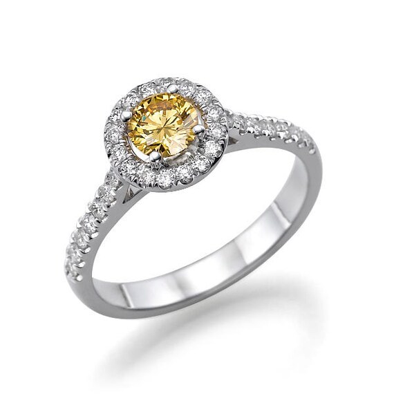 unique moissanite engagement ring 14k white gold by