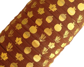 "Brown with Gold Fall Harvest Pattern on 5/8"" Fold Over Elastic 5 Yards"