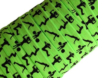 "Neon Green with Black Fitness Women 5/8"" Fold Over Elastic 1, 3 or 5 Yards"