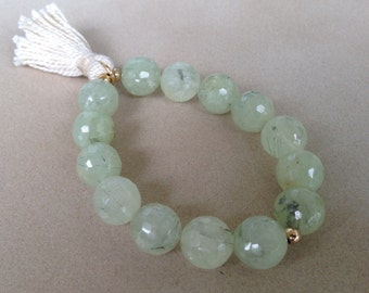 Trendy beaded Prehnite bracelet