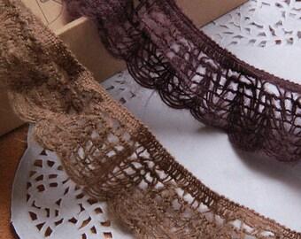 3 yards Wool lace trim yarn embroidery lace ribbon