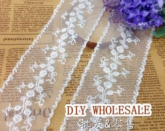 3 yards White embroidery Mesh Lace Trim- White Floral Lace for Wedding Lace 5.5cm wide