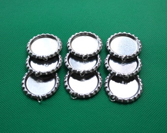 400pcs Silver Flattened Bottle Caps With 6MM Split Ring For Pendants DIY Crafts,Bottlecaps Jewelry,