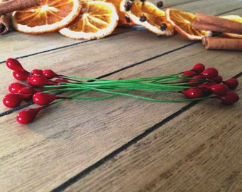 Red Decorative Berries -  Craft Supplies