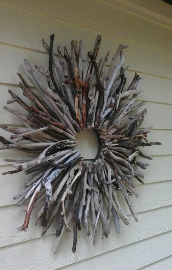 Large wreath sunburst beach decor driftwood art wall sculpture for Sunburst wall art