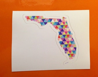 Vinyl Sticker - Florida - Colorful Hipster Geometric Triangles  - Laptop Sticker - Bumper sticker Tallahassee Orlando Miami stocking stuffer
