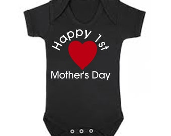 Happy 1st Mother's Day with Heart in center baby bodysuit one piece outfit - any size /
