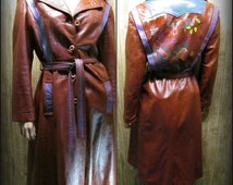 Leather Coat, Hand Painted Leather Coat, Vintage Leather Coat, Art To Wear Clothing,   #11