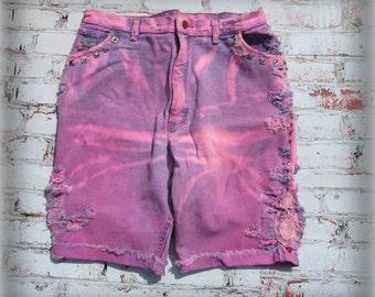 Denim Shorts, Pink denim shorts, ombre shorts, women's shorts, high waist ed shorts, Pink shorts ,  size 18 shorts,  # 44