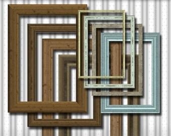 8 wood frames, vintage, digital