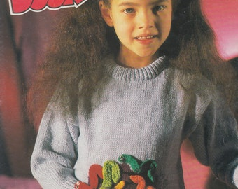 Trap Door can of worms vintage knitting pattern childrens intarsia jumper tv character picture knitting