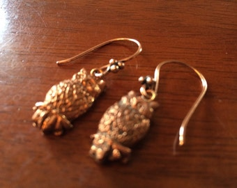 Metal clay owl earrings