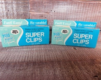 Vintage SUPER CLIPS Patio Chair Repair 2 Pieces