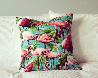 Tropical Flamingo Cushion Cover Turquoise - 50's Style Print - Stone back