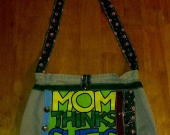 Upcycled messenger bag - Mom thinks she's incharge