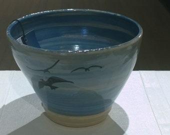 Deep blue sea birds blue bowl