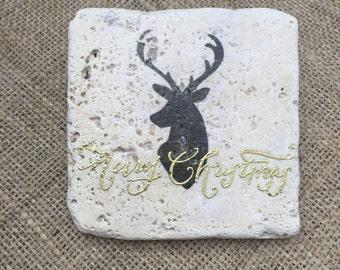 Stone Christmas Coaster, Set of four