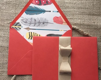 Feather Lined Red Envelopes