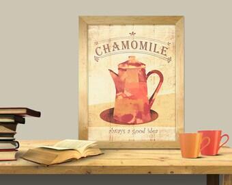 chamomile tea art print, tea lovers art print