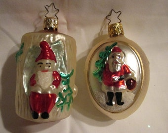 2 Vintage Made in Germany Elf or Gnome and 2 Sided Santa Ornament