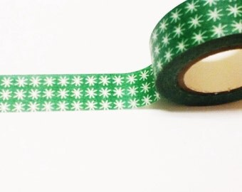 Green Washi Tape with White Starbursts, Christmas Washi, Washi Tape, Planner Washi, Gift Wrap