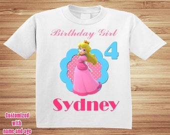 Princess Peach Toadstool Mario Brothers Birthday Shirt