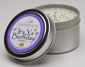 Birthday Cake Scented Soy Candle with real sprinkles and strong Cake scent making candle appear edible.  Makes a great Birthday gift.