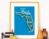 Florida State Print Florida Art Florida Poster Florida Print