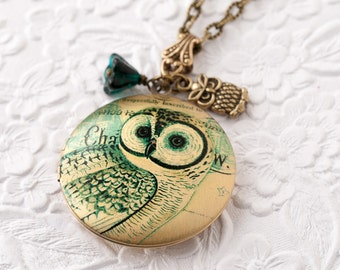 Owl Locket Owl Necklace Woodland Owl Necklace Locket Necklace Locket Jewelry Bronze Locket Bird Necklace Animal Jewelry  Mother's Day Gift