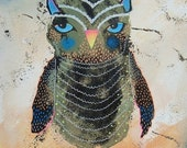 Owl Print - Baby Owl Print - Fluffy Owl - Black Baby Owl - ArtBeatriceM - Childrens Owl Art - Nursery Owl Art - Cute Owls - Baby Owls