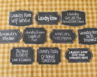 Laundry Chalkboard Style Sticky Labels