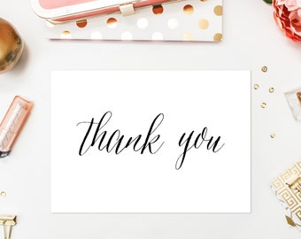 INSTANT DOWNLOAD Thank You Card - Black Script Thank You Card - Modern Calligraphy Rustic Thank You Flat Card - 5 x 7