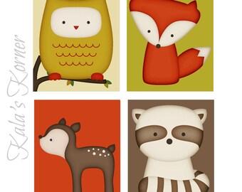 WOODLAND NURSERY ART - Forest Nursery art, Forest Animals nursery, Woodland Animals Nursery, Playroom wall art, Playroom art, boys nursery