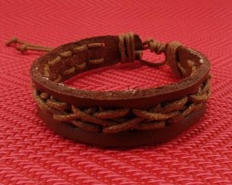 Light Brown Leather Bracelet - Handmade