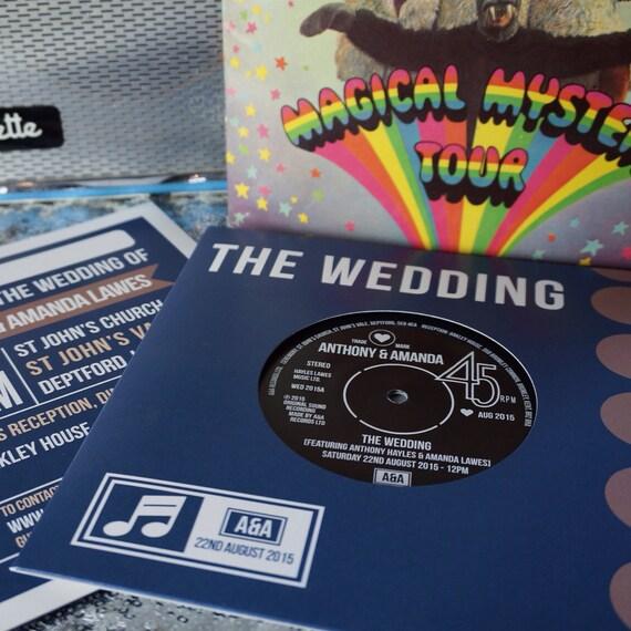 Wedding party invitations real vintage vinyl record design for Etsy vinyl wedding invitations