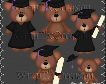 Purple/Black Graduation Bears Clipart