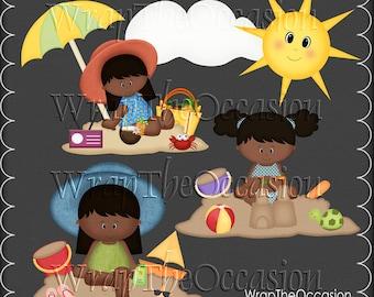 Summertime Fun AA Kids Set3 - CU Clipart