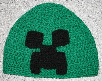 Hand Crocheted Minecraft Inspired Creeper Hat