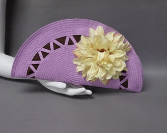 Purple and Brown Half Circle Clutch with Light Yellow Flower. Small Hand Bag.