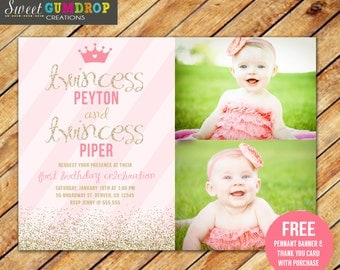 Twin Princess Birthday Invitation - Printable - FREE pennant banner and thank you card with purchase