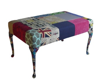 SALE !! Foot Stool / coffee Table/ upholstered furniture/ patchwork