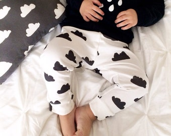 Organic Baby Leggings Black and White Cloud- Made to Order